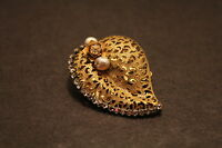 Miriam Haskell Gold toned Vintage Pin Leaf Design with faux Pearls
