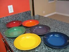 "LECREUSET STONEWARE NEW RAINBOW  PATTERN 10.5"" DIAMETER 6 SOUP PLATES SET"
