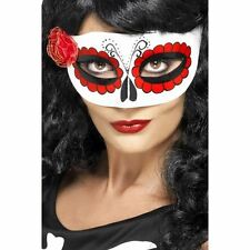 Smiffys Red White Mexican Day of The Dead Eye Mask Rose Halloween Fancy Dress