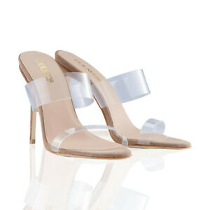 HOUSE OF CB 'LUCENT' Clear Strap Beige Suede Mules SIZE 38 UK 5 MM 799