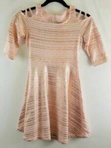 Justice Girls A-Line Dress Pink Striped Cold Shoulder Glitter Tie Back 10