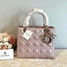 1000% Auth 🌸 Lady Dior 🌸 Medium Pearly Pink Lotus Bag! Full Set
