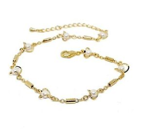 New 9CT Gold Expendable Adjustable White Pearl   Anklet  B144