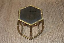 Mid Century Faux Bamboo Hexagon Brass Drum End Accent Occasional Table Glass Top