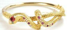 "Edwardian Victorian Ruby Tiffany Snake Bangle Bracelet 22K Yellow Gold ID 6.25"""