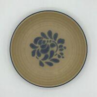 """Vintage Pfaltzgraff Folk Art SALAD PLATES 7"""" Tan with Blue accents"""