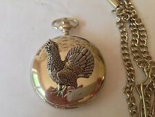 B21 Capercaillie polished silver case mens GIFT quartz pocket watch fob