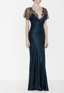 $1250 NEW Jenny Packham Lace Cap Sleeve Long Slip Gown Dress Blue Bermuda SILK M