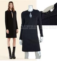 $1,950 GUCCI DRESS BLACK JERSEY LONG SLEEVE SIGNATURE LOGO SNAPS XS EXTRA SMALL