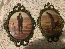 Bubble Dome Convex Glass Brass Ornate Frame Of Man And Woman In A field Homco