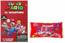 Super Mario 32 Valentine Cards and Charms Lollipops Mini Pops