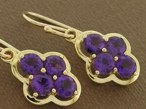 E053 Genuine 9ct Solid Gold NATURAL Dark Purple Amethyst Cluster Drop Earrings