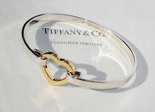 Tiffany & Co Sterling Silver 18Ct 18K Gold Heart Link Bangle Bracelet