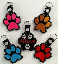 Embroidered bright colorful  PAWPRINT Key Fob Keychain -Zipper Charm Pull