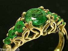 R173- SUPERB 9ct SOLID Gold NATURAL Emerald 7-stone ANNIVERSARY Ring size N