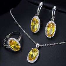 Oval Shiny Lemon Citrine Jewelry Sets White Gold Plated Necklaces Earrings Ring