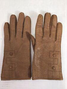 Vintage Ladies' Macy Associates Beige Lined Wrist Length Dress Gloves 7 1/2