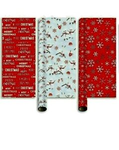 Christmas Wrapping Paper 15m (3 x 5m) Gift Wrap Rolls Red And White Design gw102