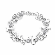925 Silver Plt Music Note Charm Bracelet / Bangle Anklet Treble Clef Quaver A