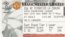 Ticket - Manchester United v Deportivo La Coruna 11.12.02 UEFA Champions League