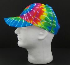 Baseball Hat Tie Dye Blue Rainbow Spiral Adjustable Cap Hippie Peace