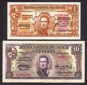 Uruguay Pair 1 & 10 Pesos 1939 Series - C Pick-35b & 37c Circulated VF-XF