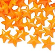 144 Plastic Opaque Neon Orange 11x11mm Faceted STAR Beads *