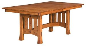 Amish Mission Arts & Crafts Dining Set 7-Pc Solid Wood Table Chairs Olde Century