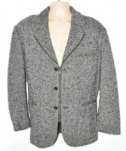 Men's Vintage XEX Zip Black Grey Wool Jacket Blazer Sze L XL Pit To Pit 24.5in