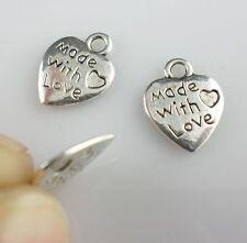 50 Pièces étiquette Pendants Plaque FAIT MAIN MADE WITH LOVE 1,20 cm / 12 mm