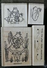 Stampin' Up FROGS & FLIES Set 4 Wood Mounted Rubber Stamps Lot Fishing Lily pad