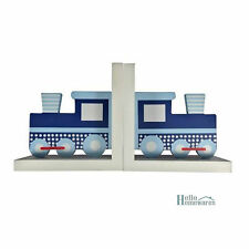 Book Ends - Train - Blue, White and Red - Kids Room Bookends Nursery Decor