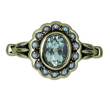 R290 Genuine 9K Gold Natural Green Amethyst & Pearl Cluster Tulip Ring size O