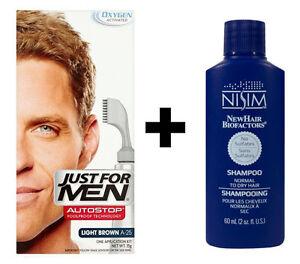 Just For Men AutoStop Mens Hair Colouring Dye LIGHT BROWN A25 + Nisim Shampoo