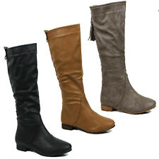 WOMENS CASUAL FLAT MID CALF SLOUCH TASSEL BOOTS BOOTIES LADIES SHOES SIZE 3-8