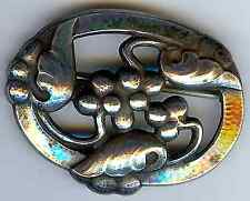 GEORG JENSEN DENMARK VINTAGE MOONLIGHT GRAPES STERLING SILVER PIN