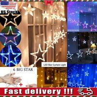 LED Star Curtain String Lights Stars 138 LEDs Window Icicle Xmas Wedding Outdoor