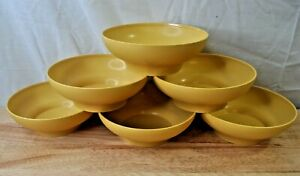 Vintage Tupperware Soup Cereal Bowls-890 Harvest Gold Yellow Set Of 6