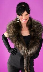 SILVER Blue Fox Fur Fox Vest Bolero Stole Wrap Cape Shawl Taxidermy 78 Hooks leg