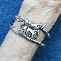 Vintage Taxco Mexico Horse Equestrian Cuff Bracelet Mare Foal Sterling Silver