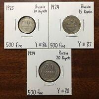 Soviet Union Lot Of Three Silver Coins: 1925 10 Kopeks, 1924 15, 20 Kopeks