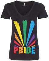 Threadrock Women's Gay Pride Rainbow Sunray V-neck T-shirt lesbian LGBT