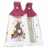 Easter Bunny Eggs Hanging Kitchen Towels Set Crochet Top Rabbit Spring