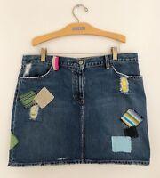 "J CREW Women's Blue Denim Jean Skirt Sz L 35""W Colored Patches Distressed"