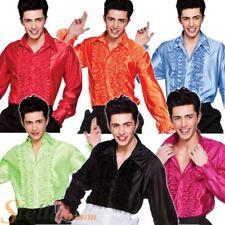 Adult Mens Disco Ruffle Shirt Saturday Night Fever 70s Fancy Dress Costume