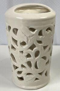 Bella Bathroom Toothbrush Holder Cup Cream Ornate Floral Design Polished Ceramic