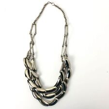 Necklace Triple 3 Strand Silver Tone Metal Beads Chunky Bib Statement Half Moon