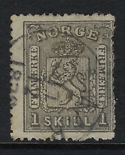 NORWAY :1867  1sk grey-black  SG22  used