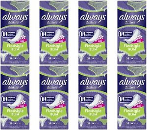 208 x Always Dailies Flexistyle Slim Panty Liners Fits all Knicker Styles, Fresh