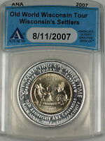 2007 ANA Convention Anniv. Old World Wisconsin Tour Wisc Settlers Token ANACS